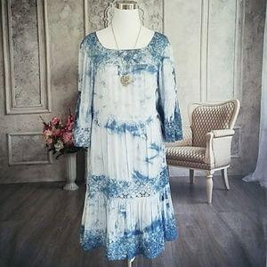 Cupio Women's Boho Dress Blue Size Medium NWT